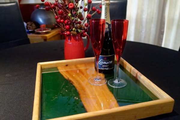 Small Ottoman Tray with Red Champaign Glasses