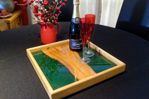 Small Green Resin Ottoman Tray with Champaign Glasses