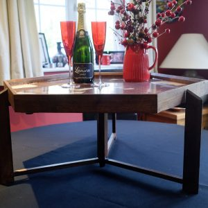 Hexagonal Occasional Table with Champaign Bottle and Glasses