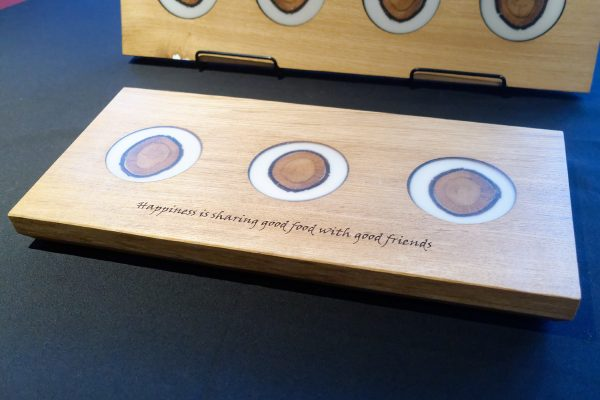 Charcuterie Board Engraved with Another in Background