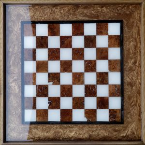 Close Up Chessboard with Rose Gold Resin
