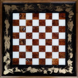 Burr Elm and Resin Chess Board Ottoman Tray Wall Art