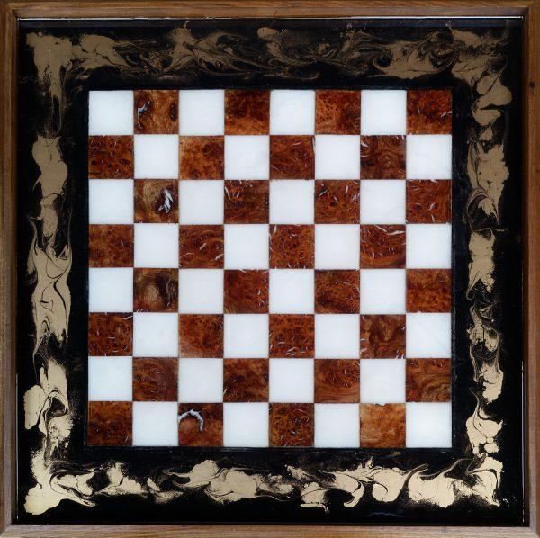 Burr Elm and Resin Chess Board Ottoman Tray Wall Art