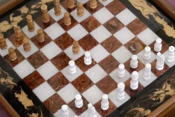 Aerial View of Chess Board Ottoman Tray with Chess Pieces
