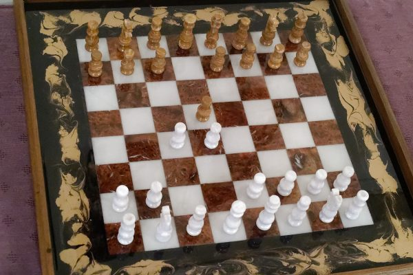 Chess Board Ottoman Tray Aerial View with Chess Pieces
