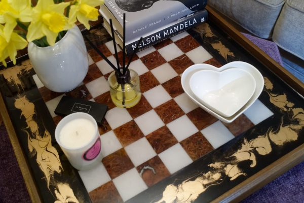 Ottoman Tray Chess Board with Accessories and Books