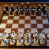 Chess Board Ottoman Tray with Chess Pieces