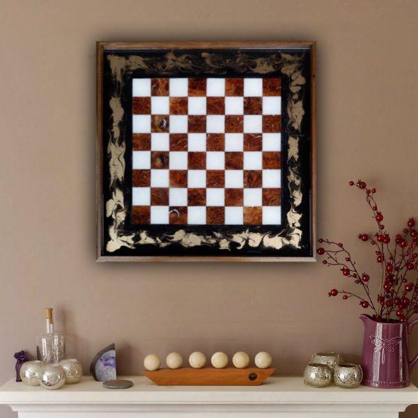 Chess Board Ottoman Tray Hung as Wall Art