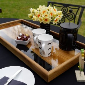Large Tray with Coffee Cups and Cafetiere