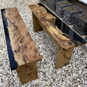 Pair of contemporary benches made from English oak and resin