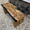 Two oak and black resin benches showing beautiful grain details