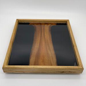 Black Resin and Scottish Elm Ottoman Tray