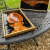 Burr Elm and Black Resin Trays on Table