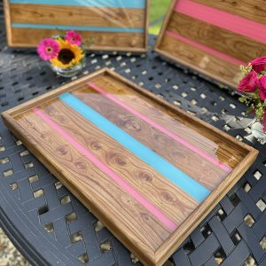 Ottoman Trays - Elm with Pink and Turquoise Resin