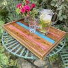 Elm Tray with Pink and Turquoise Resin with Flowers and Drinks