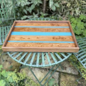 Elm and Turquoise Resin Tray on Garden Table
