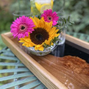 Elm Tray with Flowers