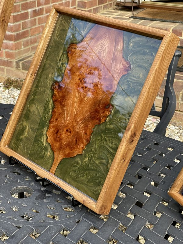 Resin resin and elm tray on outside table