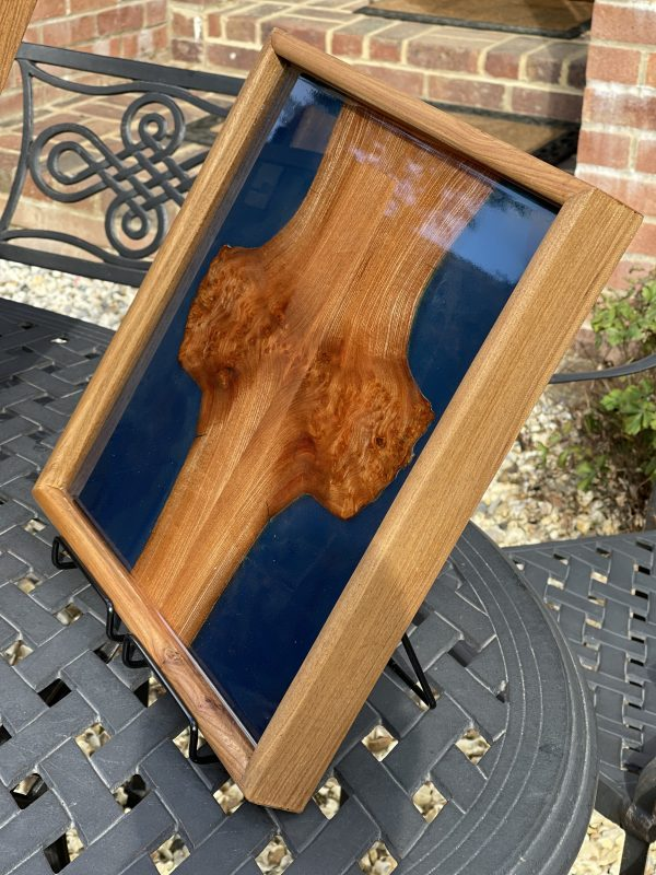 Elm and blue resin tray on outside table