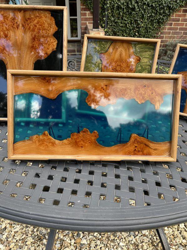 Blue river ottoman tray on outside table