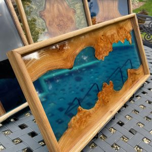 Blue river tray on outside table