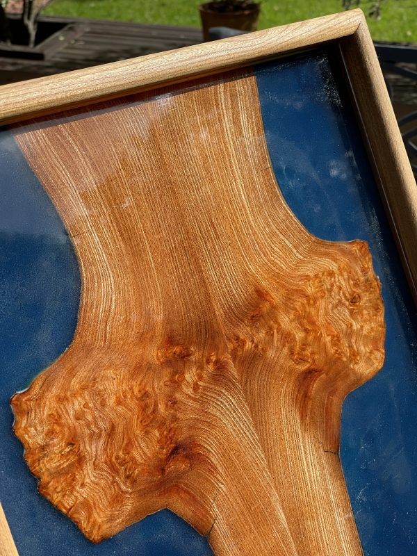 Close up of blue resin and elm tray