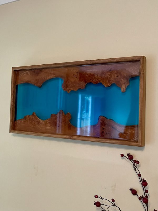 Close up of a blue river wall hanging